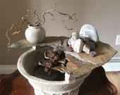 Travertine and Slate- Tabletop Water Fountain// Waterfall