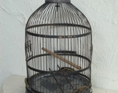 VINTAGE WIRE BIRDCAGE - Gray Blue Chippy - Brass - Wedding