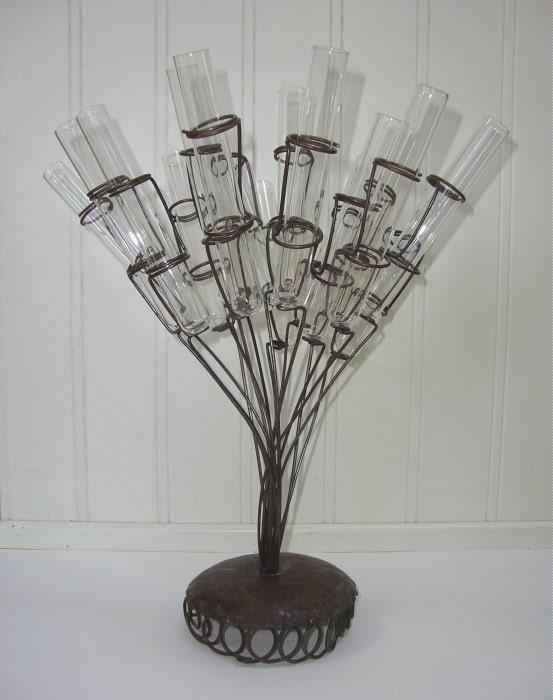 Vintage test tube vase industrial metal glass flower display for Test tube vase