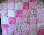 "Baby Rag Quilt Shades of Pink 36"" x 36"" Soft Cuddly"