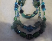 TRIPLE strand JADE NECKLACE 17-22 inches