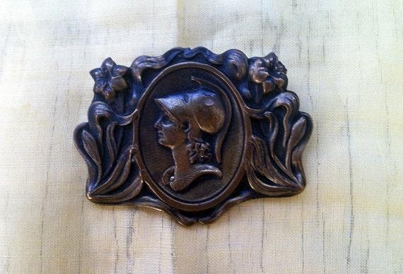 Vintage Bronze Athena Joan of Arc Warrior Brooch