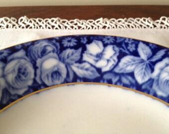 Flow Blue BEAUTY ROSE--Vintage Coupe Soup Bowl, W. H. Grindley
