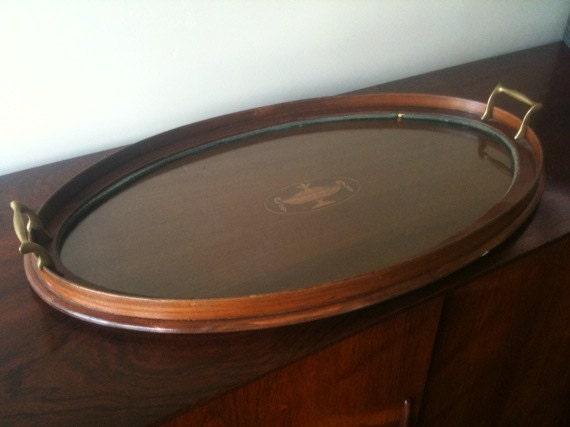 Vintage Glass Top Wood Serving Traygrecian Urn Wood Inlay