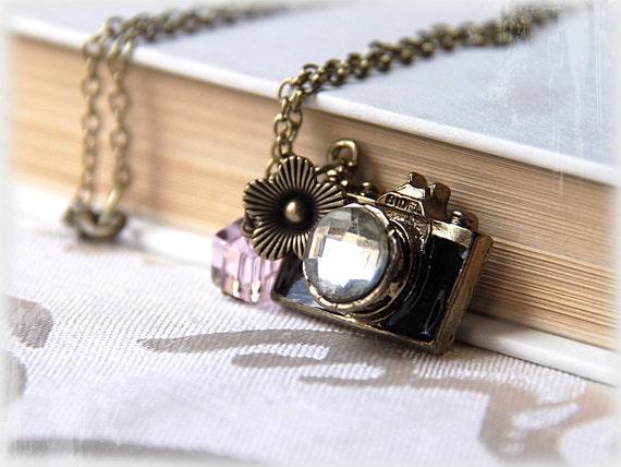 Camera necklace, black enamel pewter camera pendant, large rhinestone, pink and green glass beads, photographer jewelry - PHOTO WALK