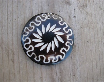 Dark Brown Pendant- Resin with Scrolled Designs