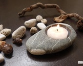 FOR MELODY7 - tea time - pebble hand made candlestick - beach stones art