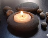 For MELODY7 - beach stone - pebble - candle holder - simple zen art