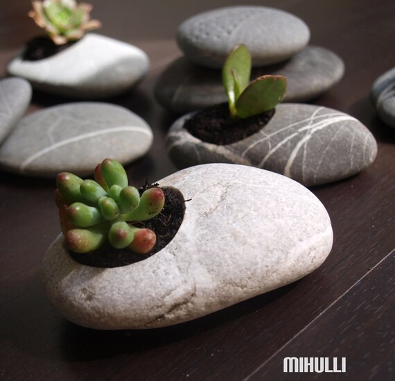 hand engraved beach pebble flower planter - simple zen design - Sicily beach stone zen garden