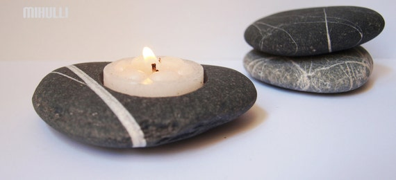 home decor - hand engraved beach stone candle holder - zen style