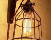 Hanging Industrial Pendant Wall Sconce with Steel Cage. Retro Edison Lamp. Cool lamp gifts for men or women.