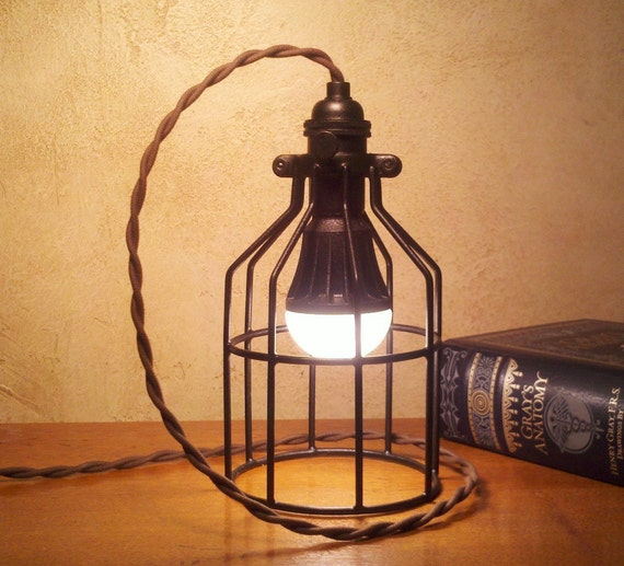 Retro Industrial Desk Lamp or Pendant Light. Old meets new. 25,000 Hour LED, Standard Edison size bulb. Cool lamp gifts for men or women.