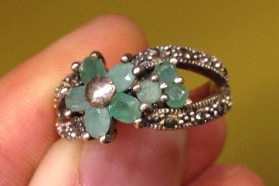 Antique Jade Flower & Marcasite Sterling Silver Ring Size 9