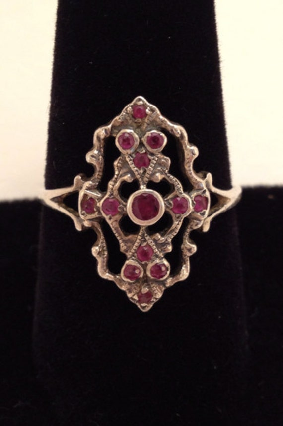 Antique Gothic UK Sterling Ring with Rubies Ruby Accents Size 9