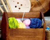 Vintage Tool Box Inspired - Wood Notions Caddy - Yarn Carrier - Crochet Basket - Notions Box