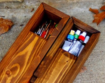 Wood Pencil Box - Pine Pencil Box - Wood Craft Supply Box - Crochet Hook Organizer - Box for Artist Paint