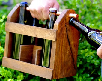 2 Beer Caddy - 2 Home Brew Six Pack Carriers -2  6 Packs - Bottle Opener -Best Man Gift-  Groomsmen Gift
