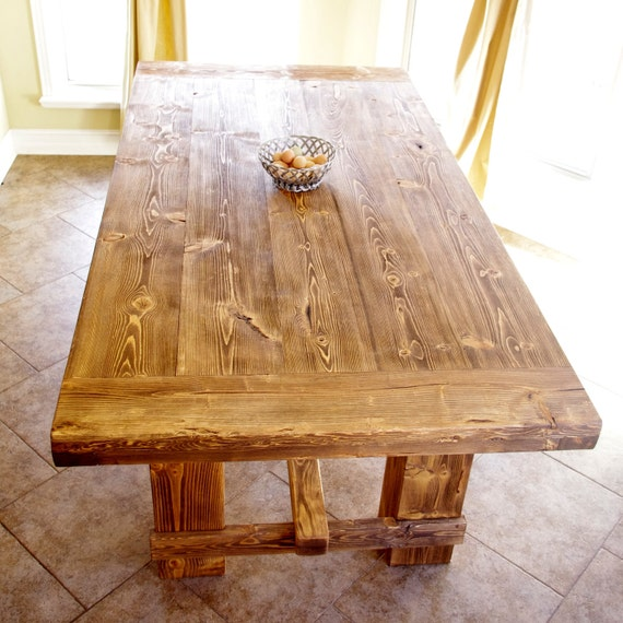 Items similar to Rustic Pine Farmhouse Table Restoration Hardware Style Far