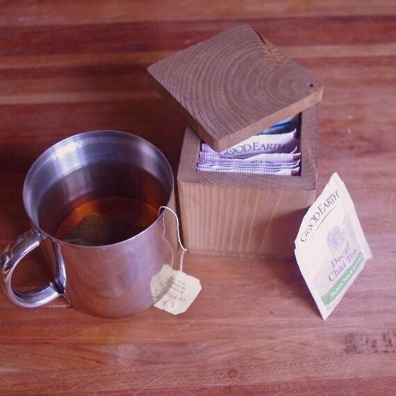 Reclaimed Wood Tea Box - Handmade Square Tea Box - Wooden Tea Box