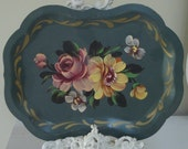 AQUA TOLE TRAY -  Painted Roses Floral - Toleware Metal -
