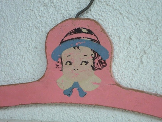VINTAGE Pink Childs Painted Face CLOTHES HANGER - wood girls sweet shabby chippy