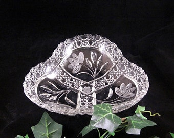 Antique ABP Glass Tri Corner Bowl // c1900 // Sawtooth, Floral and Cane Pattern