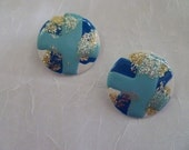 Vintage 80s Round Blue Light Blue Glitter Earrings
