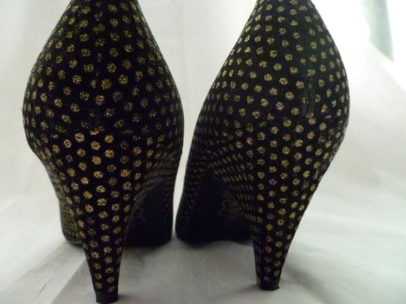 Vintage 1980s Black & Gold Polka Dot Pumps