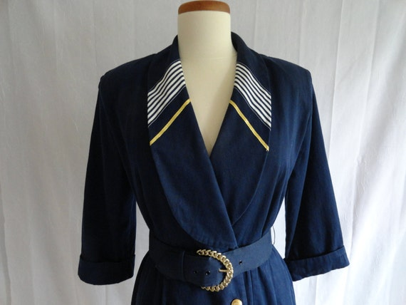 Vintage 80s Navy Blue Nautical Double Breasted Belted Sailor Dress
