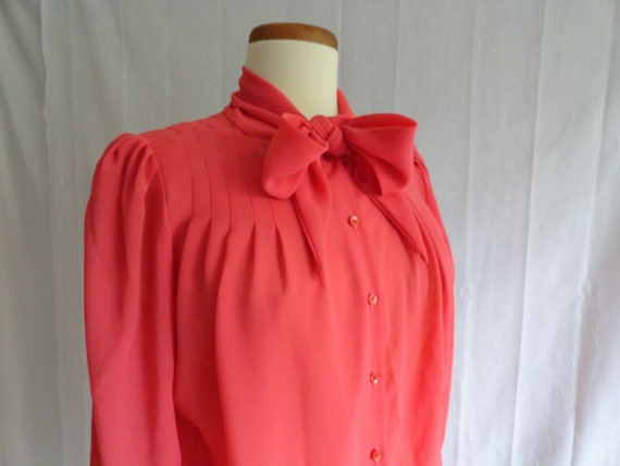 Vintage 80s Coral Pussy Bow Blouse