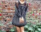 chiffon dress lantern dress  princess dress lolita dress black dot dress long sleeve dress mini dress