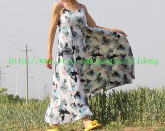linen dress cotton dress green dress flower dress vest dress