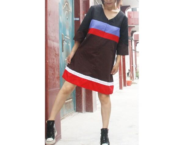 Patchwork Linen maxi Dress
