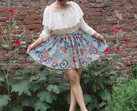 blue flowers dress Round neck dress the flouncing shawl dress ----------for megan