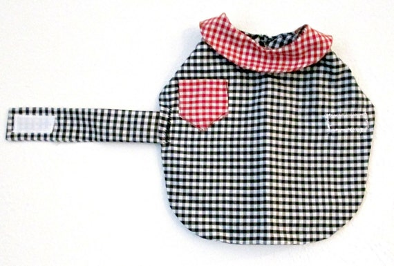 Toy Breed-Dog Shirt Custom to Fit  - Black Poly Cotton Gingham with Red Gingham Collar & Pocket, for Small Dog Pomeranian Shih Tzu