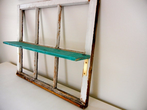 Repurposed Vintage Window with Shelf