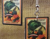 Vintage Seed Packet Image Earrings - Mixed Vegetables - TheBookCellar