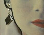 Black Leather Book Earrings
