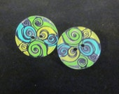 Blue & Green Button Earrings - TheBookCellar