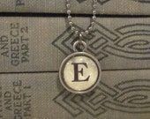 Initial E Charm Necklace, Vintage Style Typewriter Key Charm, Mini Initial Charm Necklace, Letter E on Ball Chain