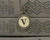 Initial V Charm Necklace, Vintage Style Typewriter Key Charm, Mini Initial Charm Necklace, Letter V on Ball Chain