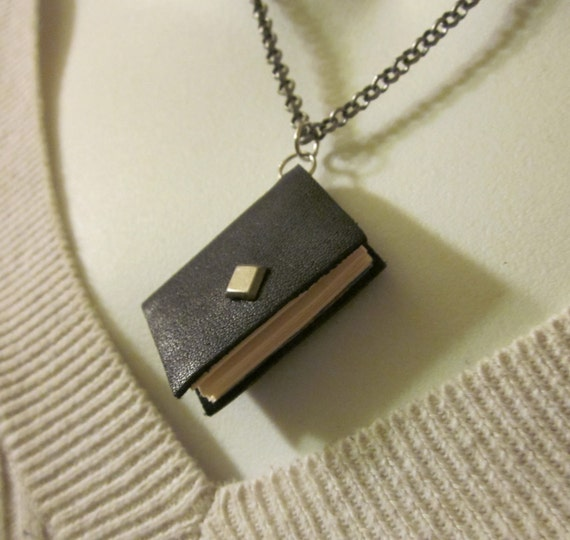 Black Leather Book Necklace