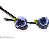 Rose hair pins, embroidered lace roses, navy grey, lilac, crochet hair accessory, shabby chic, rosebud bobby pin flowers