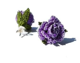 Mini purple rose studs, lace earrings, Mauve rose, lavender green lilac, small post, rose classic lace jewelry, soft pastel botanical