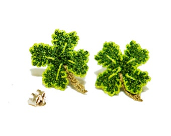 Cute & small four leaf lucky clover earrings in lime green lace. So lucky to find you - friendship jewelry boho St Patrick gift lucky charm