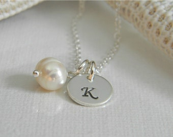 "Solid Sterling Silver Custom Made Tiny, Dainty Hand Stamped Personalized Monogram Initial Charm Necklace with Freshwater Pearl (3/8"")"