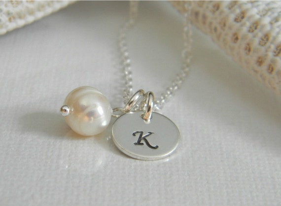 """Solid Sterling Silver Custom Made Tiny, Dainty Hand Stamped Personalized Monogram Initial Charm Necklace with Freshwater Pearl (3/8"""")"""