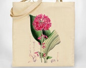 Canvas Tote - Botanical Flower Clintonia Andrewsiana - ecofriendly upcycled organic bag