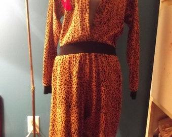 Animal print jumpsuit with floral design
