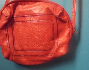 vintage leather purse embossed with floral design